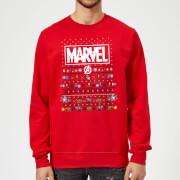 Marvel Avengers Pixel Art Christmas Sweater - Red