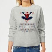 Marvel Avengers Spider Man Womens Christmas Sweatshirt   Grey   XS   Grey