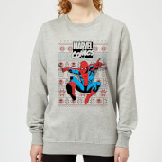 Marvel Avengers Classic Spider Man Womens Christmas Sweatshirt   Grey   XL   Grey