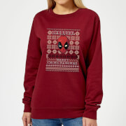 Marvel Deadpool Women's Christmas Sweatshirt - Burgundy