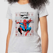 Marvel Avengers Classic Spider Man Womens Christmas T Shirt   Grey   XS   Grey