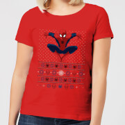 Marvel Avengers Spider Man Womens Christmas T Shirt   Red   XL   Red