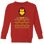 Marvel Avengers Iron Man Pixel Art Kids Christmas Sweatshirt - Red