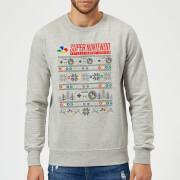 Nintendo SNES Pattern Christmas Sweatshirt - Grey