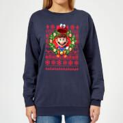 Nintendo Super Mario Mario and Cappy Women's Christmas Sweatshirt - Navy