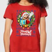 Nintendo Super Mario Happy Holidays Mario Women's Christmas T-Shirt - Red