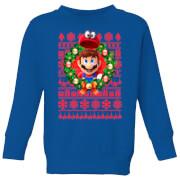 Nintendo Super Mario Mario and Cappy Kid's Christmas Sweatshirt - Royal Blue