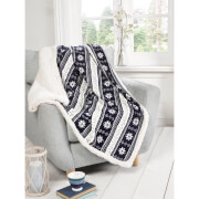 Rapport Alpine Fleece Blanket Throw - Navy