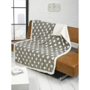Rapport Stars Fleece Blanket Throw - Grey
