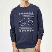Ride Now  Turkey Later Christmas Sweatshirt - Navy - S - Navy