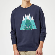 Bike And Mountains Christmas Sweatshirt - Navy - S - Navy