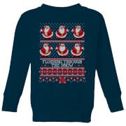 Flossing Through The Snow Kids' Sweatshirt - Navy