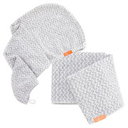 Aquis Lisse Luxe Hair Turban and Hair Towel - Chevron (Worth £60.00)