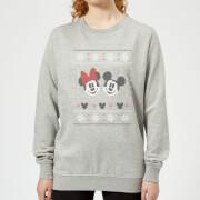 Disney Mickey And Minnie Womens Christmas Sweatshirt - Grey - 3XL - Grey