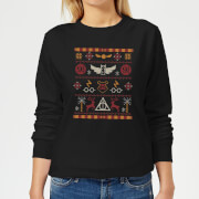 Harry Potter Knit Women's Christmas Sweatshirt - Black