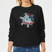 Marvel The Amazing Spiderman Snowflake Web Womens Christmas Sweatshirt - Black - 3XL - Black