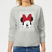 Disney Minnie Face Womens Christmas Sweatshirt - Grey - 3XL - Grey