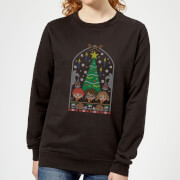 Harry Potter Hogwarts Tree Women's Christmas Sweatshirt - Black