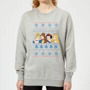 Disney princess faces womens christmas sweatshirt grey l gris