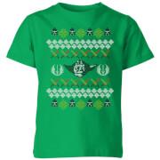 Star Wars Yoda Knit Kids' Christmas T-Shirt - Kelly Green - 5-6 años - Kelly Green