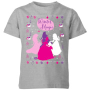 disney princess silhouettes kids' christmas t-shirt - grey - 3-4 years - grey