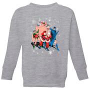 DC Batman Robin Santa Claus Kids' Christmas Sweatshirt - Grey