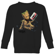 Guardians Of The Galaxy Groot Tape Kids' Christmas Sweatshirt - Black