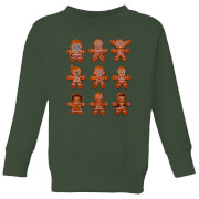 Star Wars Gingerbread Characters Kids' Christmas Sweater - Forest Green