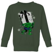 Marvel The Incredible Hulk Christmas Present Kids' Christmas Sweatshirt - Forest Green