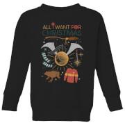 Harry Potter All I Want Kinder Weihnachtspullover - Schwarz