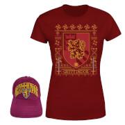 Harry Potter Gryffindor T-Shirt And Cap Bundle - Burgundy