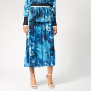Victoria, Victoria Beckham Women's Mixed Pleat Skirt - Blue - UK 10 - Blue