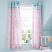 Catherine Lansfield Llama-Corn Easy Care Curtains - Pink 66 x 72