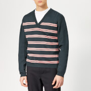 Lanvin Men's Striped V Neck Jumper - Dark Blue - M - Blue
