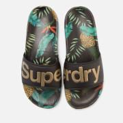 Superdry Women's Beach Slide Sandals - Black/Pineapple Aop