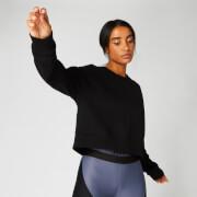 Bauchfreies Sweatshirt in Metallic-Optik — Schwarz - XS