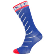Image of Sealskinz Super Thin Pro Mid Socks with Hydrostop - S - Navy Blue/White/Red