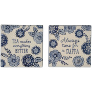 Sass & Belle Set of 2 Blue Floral Tea Makes Everything Better Coasters