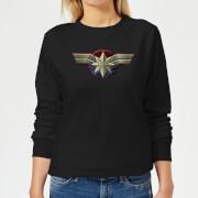 Captain Marvel Chest Emblem Women's Sweatshirt - Black