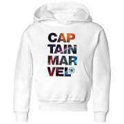 Captain Marvel Space Text Kids' Hoodie - White