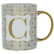 Candlelight Initial Mug   C   Gold