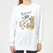 Scooby doo powered by milk and cookies womens sweatshirt white xxl blanc