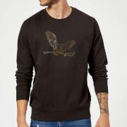 Harry Potter Hedwig Broom Gold Sweatshirt - Black