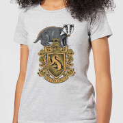Harry Potter Hufflepuff Drawn Crest Women's T-Shirt - Grey