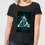 Harry potter hallows painted womens t shirt black xl noir