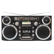 GPO Brooklyn Portable 1980s Retro Style Music System Boombox with CD, Cassette, DAB Radio & Bluetooth - Black