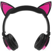 Live Love Music Light UP Wireless LED Cat Ears Headphones With Mic - Pink