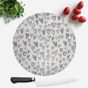 Black Heart Pattern Round Chopping Board