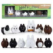 Kidrobot Kozik 2.5 Inch Vinyl Labbit with Five 1.5 Inch Littons