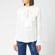 See By Chloé Women's Frill Detail High Neck Blouse - White - FR 42/UK 14 - White